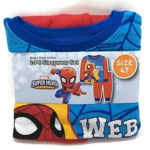 Boys Spiderman Pajamas 100% Cotton Sz 4T